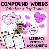 Valentine's Day Activities Compound Words Literacy Centers Worksheets