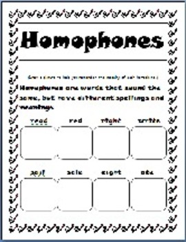 Literacy Centers Homophones: Draw to Remember Homophones!