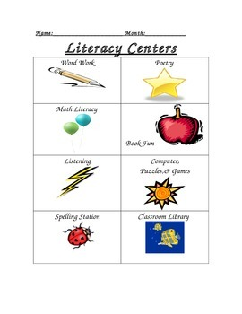 Literacy Centers Mark Off Chart/Checklist