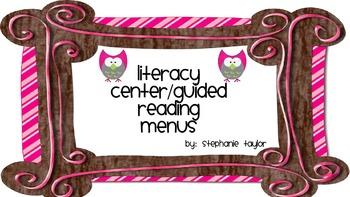 Literacy Centers Menus