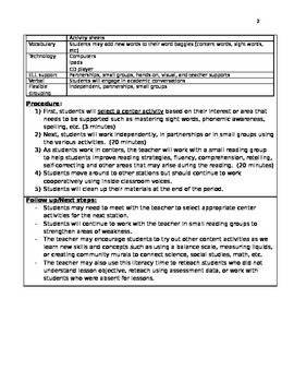 Literacy Centers Observation Lesson plan