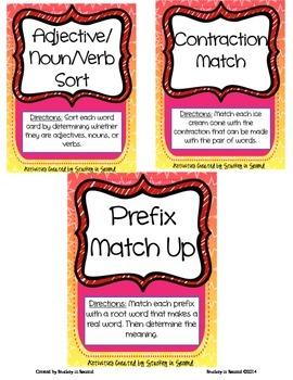 Literacy Centers Pack- Adjectives/Nouns/Verbs, Contractions, Prefixes 6-1