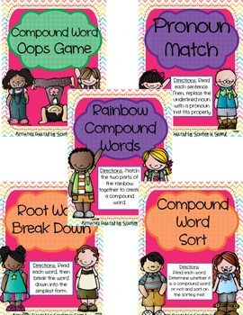 Literacy Centers Pack- Compounds Words, Root Words, Pronouns 5-1