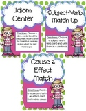 Literacy Centers Pack- Idioms, Cause & Effect, Subject/Verb Agreement  3-2