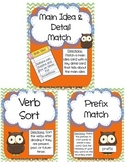 Literacy Centers Pack- Main Idea & Details, Future Tense Verbs, Prefixes 3-4