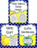 Literacy Centers Pack- Main Idea & Details, Verbs, Suffixes 3-3