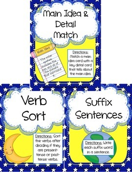 Literacy Centers Pack- Main Idea & Details, Verbs, Suffixes 3-3