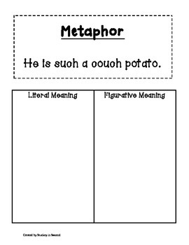 Literacy Centers Pack-Metaphors, Comparing Words, Irregular Verbs 4-5