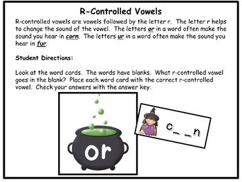 Literacy Centers Phonics Activities R-Controlled Vowels Halloween Theme