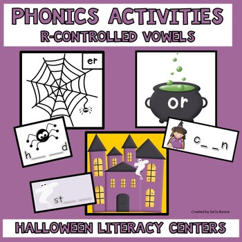 Literacy Centers, Phonics Activities with R-Controlled Vowels-Halloween Theme
