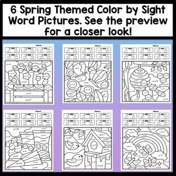Sight Word Coloring Pages for Spring {8 pages!}