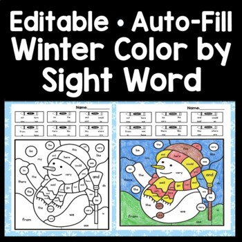 Sight Word Coloring Pages for Winter {8 Pages!} by Sight ...
