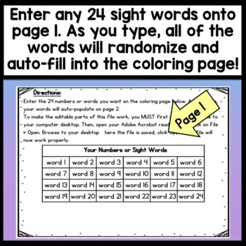 Sight Word Coloring Sheets For Winter Color By Sight Word