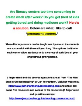 Literacy Centers - Read to Self