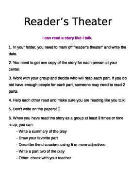 Literacy Centers - Reader's Theater