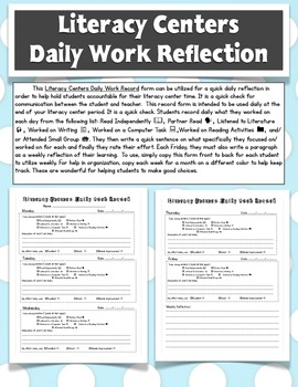 Literacy Centers Reflection Form  (Daily 5 Friendly)