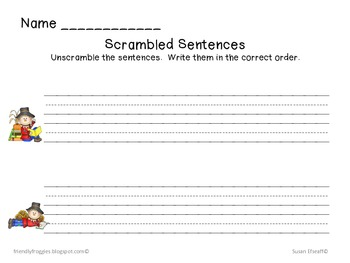 Literacy Centers: Sammy the Scarecrow's Scrambled Sentences