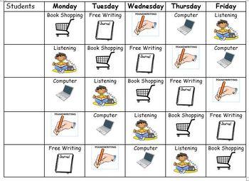 Literacy Centers Schedule