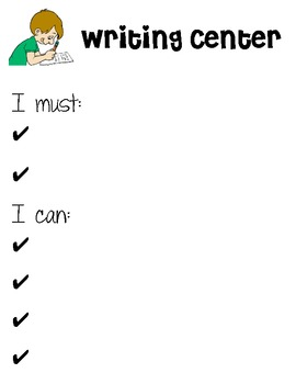 Literacy Centers Signs - Must do, Can do