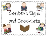 Literacy Centers Signs and Checklists