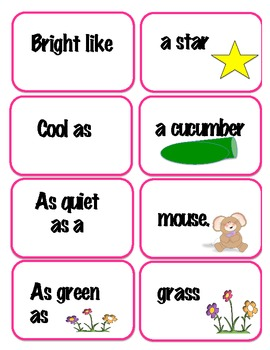 Literacy Centers Similes Matching Activity