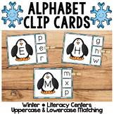 Winter Literacy Centers | Alphabet Clip Cards | Uppercase & Lowercase Matching