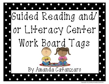 Literacy Centers Work Board Tags
