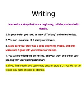 Literacy Centers - Writing