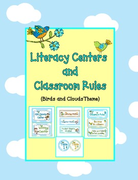 Literacy Centers and Classroom Rules - Birds and Clouds