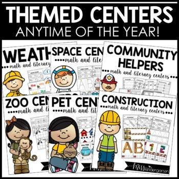 Literacy Centers and Math Centers for Kindergarten Bundle