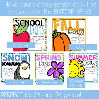 Literacy Centers ALL YEAR Bundle 2nd and 3rd Grade
