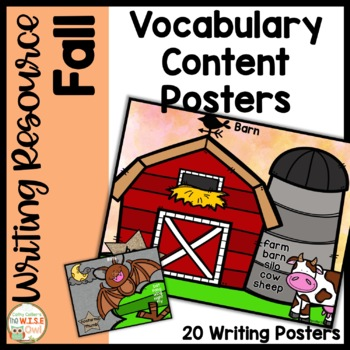 Content Word Posters for K-1 Writers for Fall