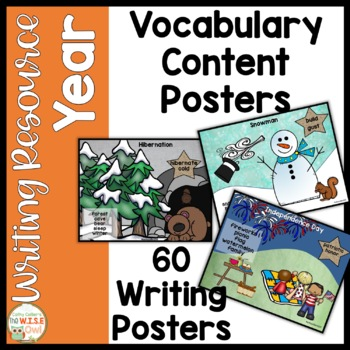 Content Word Posters for K-1 Writing for ALL YEAR