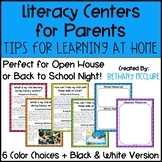 Back to School Night Parent's Guide to Literacy Centers |