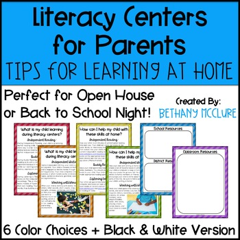 Literacy Centers Parent Guide Tips and Tricks for Learning