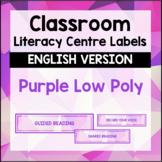 Literacy Centre Labels - Purple Geometric