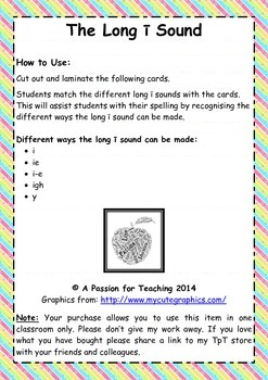 Literacy Centre: The Long I Sound Phonics Cards