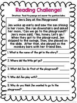 First Grade Literacy Challenge Packet - Reading, Writing Worksheets & Activities