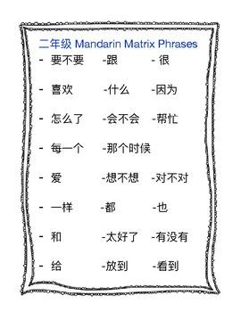 Literacy- Chinese Mandarin Matrix Phrases