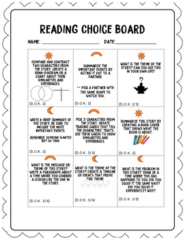 Literacy Choice Board