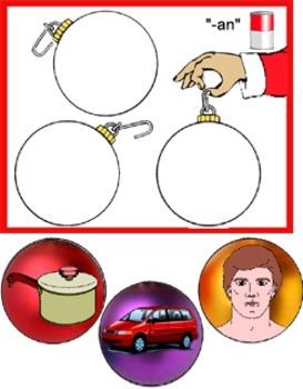 Literacy Circle Activity - Christmas Ornaments Rhyming Words