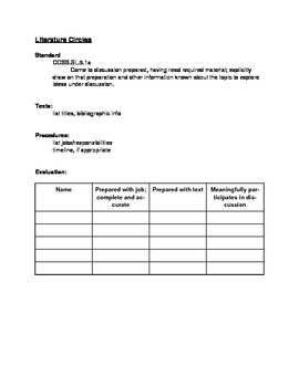 Literacy Circle Evaluation Checklist