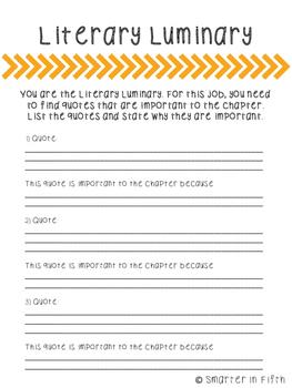 Literacy Circle Job Worksheets