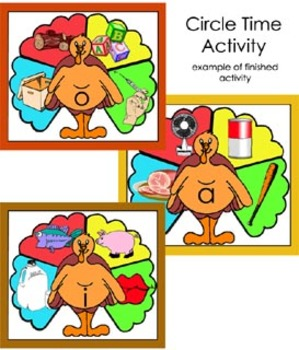 Literacy Circle Time Activity - Turkey Tail Short Vowel Words