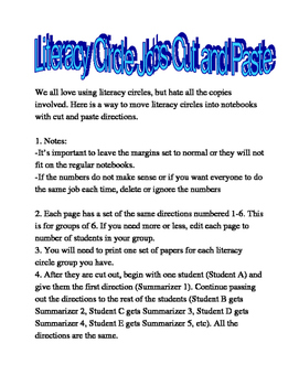 Literacy Circles Cut and Paste Jobs