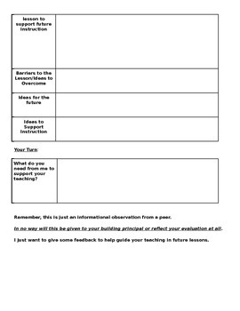 Literacy Coach Observation Feedback Form