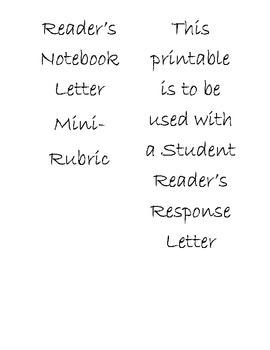 Literacy Collaborative Reader's Response Letter Grading Rubric