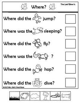 """Literacy Companion for """"When The Leaf Blew In"""" Vocab - WH? - Sequence - Retell"""