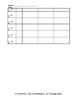 Literacy Conferences Template- Conferences, Guided Reading, and Strategy Lessons