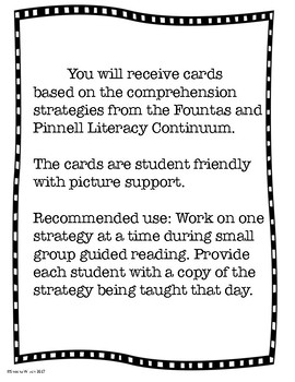 Literacy Continuum Comprehension Cards (For Small Group)